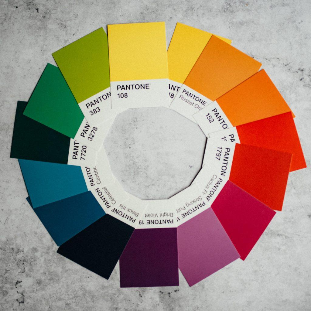 colour wheel on grey background